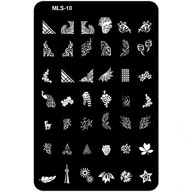 1PCS 과인 꽃 추상화 카툰 러블리 펑크 웨딩 네일 스탬핑 이미지 템플릿 플레이트 스탬퍼 스크레이퍼