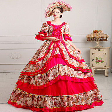 One-Piece/Dress Gothic Lolita Steampunk® Rococo Cosplay Lolita Dress Print Vintage Long Sleeve Long Length Hat For Lace Satin