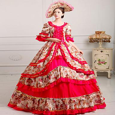 Jednoczęściowy/Sukienki Gothic Lolita Steampunk® Rokoko Cosplay Sukienki Lolita Nadruk Postarzane Długi rękaw Długi Długość Kapelusz Dla