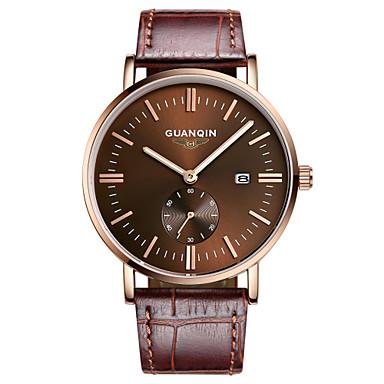 GUANQIN Masculino Relógio de Pulso Calendário Impermeável Quartzo Couro Banda Luxuoso Preta Marrom