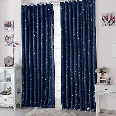 Stanglomme Propp Topp Fane Top Dobbelt Plissert To paneler Window Treatment Moderne, Trykk Polkadotter Stue Polyester Materiale Blackout
