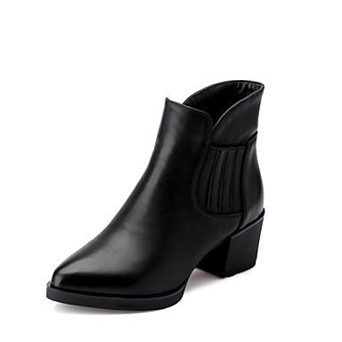 Жен. Обувь Искусственная кожа Осень Зима На толстом каблуке Около 10 - 15 см Ботинки для Повседневные Офис и карьера Для вечеринки /