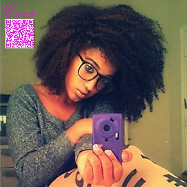 Femme Perruque Naturelles Dentelle Cheveux humains Full Lace Sans Colle Full Lace 120% Densité Très Frisé Afro Perruque Noir Court Mi