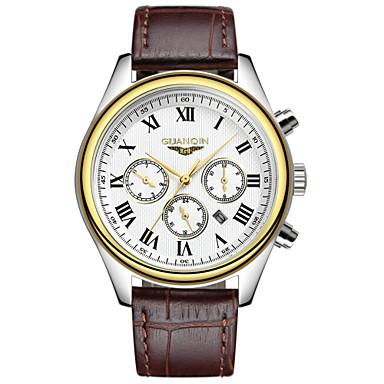 GUANQIN Herren Armbanduhr Quartz Kalender Wasserdicht Leder Band Schwarz Braun Gold/Weiß Goldenschwarz Silberschwarz Weiß/Silber