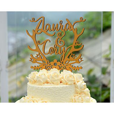 Décorations de Gâteaux Thème floral Thème de conte de fées Couple classique Cœur Papier durci Mariage Enterrement de Vie de Jeune Fille