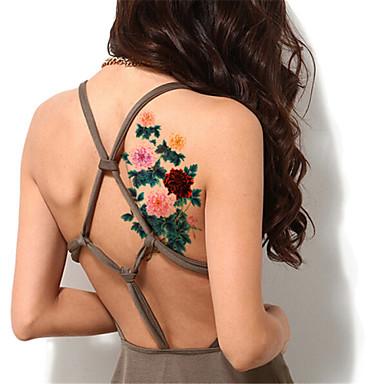 5Pcs/Set Flash Waterproof Color Peony Flower Temporary Tattoo Sticker