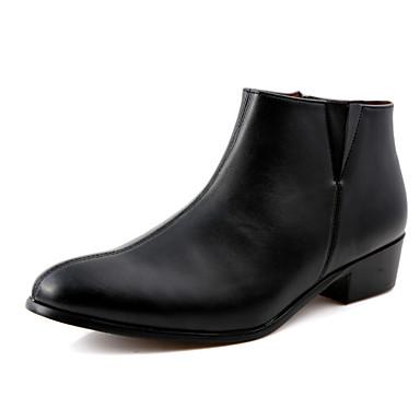 Муж. обувь Дерматин Осень Зима Удобная обувь Ботинки 5.08-10.16cm Ботинки Черный Темно-синий Вино