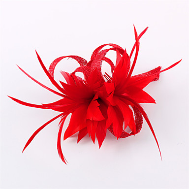 Flax Feather Fascinators Headwear with Floral 1pc Wedding Special Occasion Casual Outdoor Headpiece