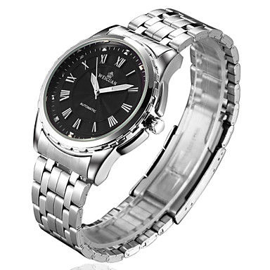Personalized Gift Watch, Analog Mechanical Hand Wind Watch With Steel Case Material Steel Band Water Resistance Depth