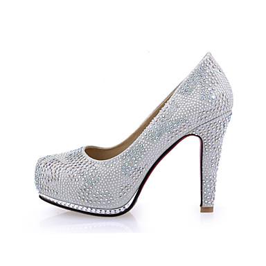 펌프스/힐 - 웨딩 / 드레스 / 파티/이브닝 - 여성의 신발 - 힐 / 둥근 앞코 - 레더렛 - 청키 굽 - 핑크 / 실버