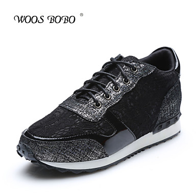 WOOS BOBO@ Women's Shoes Patent Leather/Tulle Flat Heel Round Toe Fashion Sneakers  Outdoor