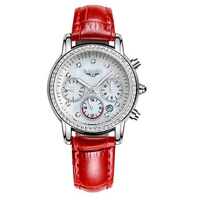 Damen Modeuhr Quartz LED / Kalender / Wasserdicht Leder Band Schwarz / Weiß / Blau / Rot / Braun / Rosa Marke
