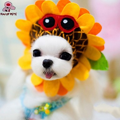 Gato Cachorro Fantasias Bandanas e Chapéus Roupas para Cães Fantasias Férias Flôr Amarelo