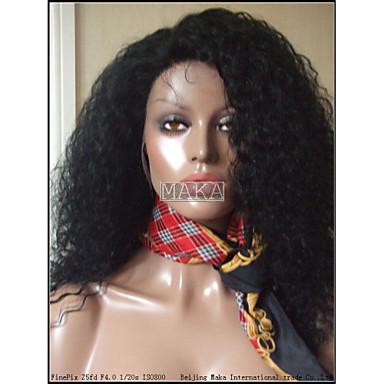 Περούκα περούκα Σγουρά Πλήρης Δαντέλα 100% δεμένη στο χέρι Περούκα αφροαμερικανικό στυλ Φυσική γραμμή των μαλλιών 130% Πυκνότητα Φυσικό