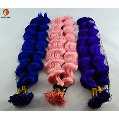 100pcs ανά σκέλος συνθετικές σύντηξης 18inch μαλλιά u tip επέκταση μαλλιά