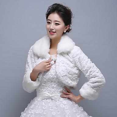 긴 소매 인조 캐쉬미어 결혼식 결혼식 랩 모피 랩 코트/자켓
