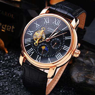 Herrn Automatikaufzug Mechanische Uhr Armbanduhr Wasserdicht Transparentes Ziffernblatt Leder Band Luxus Schwarz Braun
