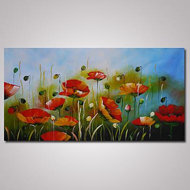 Ручная роспись Цветочные мотивы/ботанический Горизонтальная панорама, Modern холст Hang-роспись маслом Украшение дома 1 панель