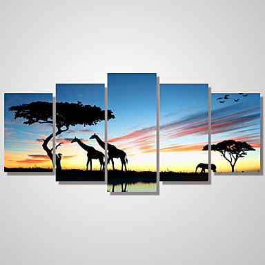 Landskap Dyr fritid Fotografisk Klassisk, Fem Paneler Vannrett Trykk