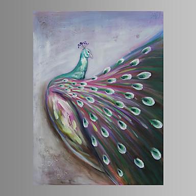 pintado a mão peafowl pintura a óleo animal em arte de parede de lona com moldura esticada pronta para pendurar