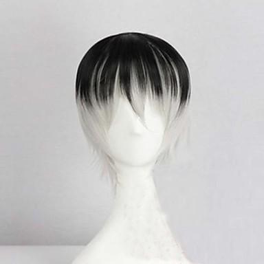 Syntetiske parykker Rett / Kinky Glatt Asymmetrisk frisyre Syntetisk hår Naturlig hårlinje Svart / Grå Parykk Herre Kort Lokkløs Regnbue