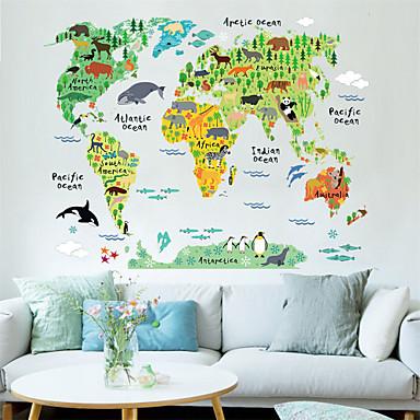 Dekoratif Duvar Çıkartmaları - Harita Duvar Çıkartmaları Manzara / Hayvanlar / Karton Oturma Odası / Yatakodası / Yemek Odası
