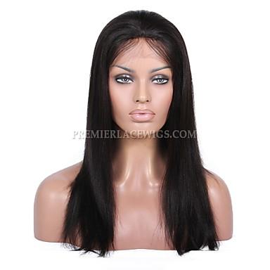 Aidot hiukset Full Lace Lace Front Peruukki Suora 130% Tiheys 100% käsinsidottu Afro-amerikkalainen peruukki Luonnollinen hiusviiva Lyhyt