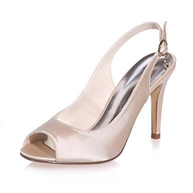 FemininoPeep Toe-Salto Agulha-Preto / Azul / Roxo / Marfim / Branco / Prateado / Champagne-Cetim-Casamento / Festas & Noite