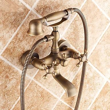 Tradicional Banheira e Chuveiro Chuveiro de Mão Incluído Válvula Cerâmica Duas Aberturas Duas alças de dois furos Latão Antiquado ,