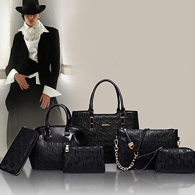 Kadın Çantalar PU Patentli Deri 6 Adet Çanta Seti için Alışveriş Günlük Resmi Tüm Mevsimler Beyaz Siyah Gümüş Mavi