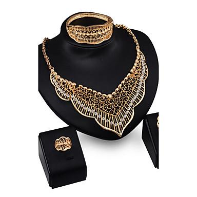 יהלום סינתטי סט תכשיטים - זירקוניה מעוקבת, יהלום מדומה פאר, וינטאג', מסיבה לִכלוֹל זהב עבור / עגילים / שרשראות