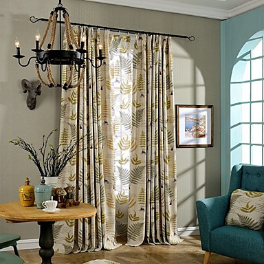 Rod Pocket Grommet Top Double Pleat Two Panels Curtain Country , Print Leaf Bedroom Linen / Cotton Blend Material Curtains Drapes Home
