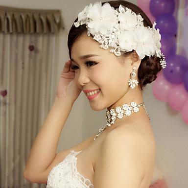 coreano manual de renda branca flor cocar de noiva