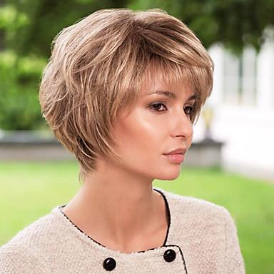 preiswerte Kappenlos-Menschliches Haar Capless Perücken Echthaar Wellen Kurze Frisuren 2019 Halle Berry Frisuren Kappenlos Perücke