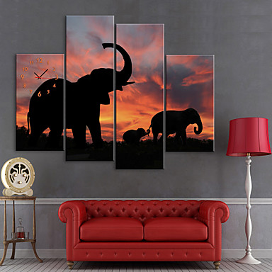 Intins Canvas arta de imprimare Elephants animale Set de 4