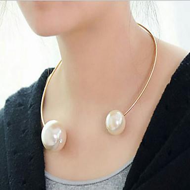Damen Kreisform Gestalten Modisch Europäisch Halsketten Perlenkette Perle Aleación Halsketten Perlenkette