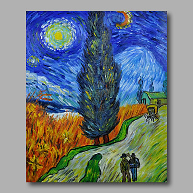 Ready to hang Stretched Hand-Painted Oil Painting Canvas Van Gogh repro Road with Crypress and Starry Night One Panel
