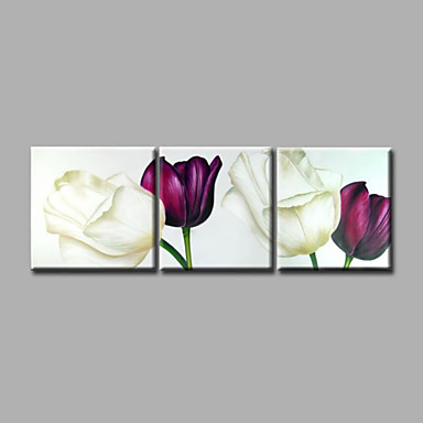 Ready to Hang Hand-Painted Oil Painting on Canvas Wall Art Contempory Abstract Flowers Purple Tulips Three Panels
