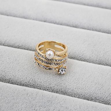 Dame Band Ring - Perle, Strass, Fuskediamant Mote 7 / 8 / 9 Til Bryllup / Fest / Daglig