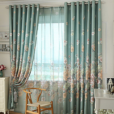 Grommet Top Double Pleat Two Panels Curtain Modern Neoclassical Country, Print Bedroom Polyester Material Curtains Drapes Home Decoration