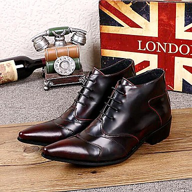 Men's Shoes Leather Fall / Winter Comfort Boots 15.24-20.32 cm / Booties / Ankle Boots Burgundy / Party & Evening