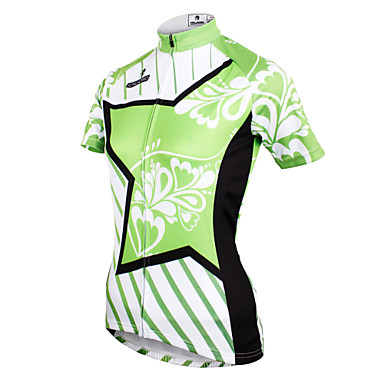 ILPALADINO Women's Short Sleeve Cycling Jersey - Green Floral / Botanical Bike Jersey Top Breathable Quick Dry Ultraviolet Resistant Sports Polyester 100% Polyester Terylene Mountain Bike MTB Road