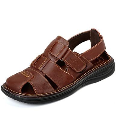 Bărbați Piele Primăvară / Vară Confortabili Sandale Papuci de Apă Negru / Maro Deschis