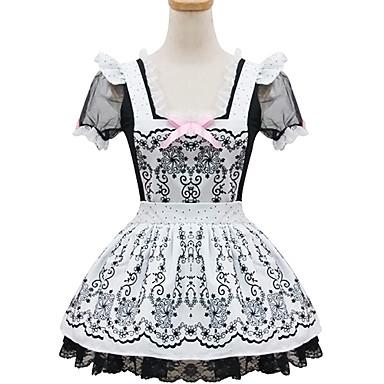 Tek-parça/Elbiseler Hizmetçi Elbiseleri Klasik/Geleneksel Lolita Lolita Cosplay Lolita Elbiseler Siyah Beyaz Desen Zıt Renkli Kısa Kollu