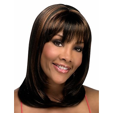 Synthetic Wig Wavy Bob Haircut / With Bangs Synthetic Hair Wig Women's Medium Length Capless