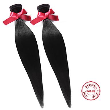 EVET Peruvian Straight Virgin Hair 2Pcs Lot 7A Unprocessed Weave Peruvian Straight Virgin Human Hair Natural Black