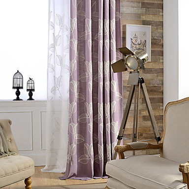 Curtains Drapes Bedroom Linen / Cotton Blend Embroidery