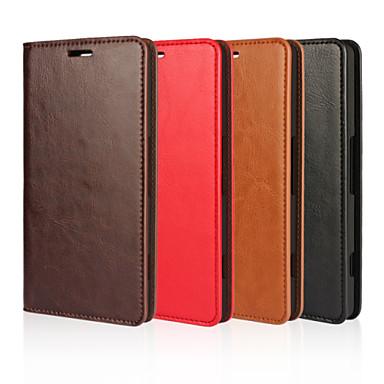 Pouzdro Uyumluluk Nokia Lumia 950 Diğer Nokia Nokia Kılıf Kart Tutucu Cüzdan Satandlı Tam Kaplama Kılıf Tek Renk Sert Gerçek Deri için