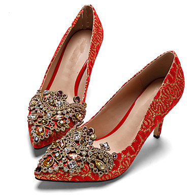 Mujer Zapatos Seda / Tejido Primavera / Verano Tacón Stiletto Flor de Satén / Purpurina Borgoña / Boda / Fiesta y Noche qBPb8
