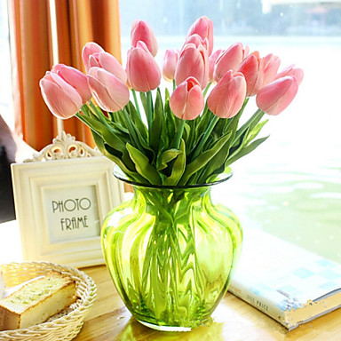10 Branch Europe Style PU Lifelike Tulip Home Furnishing True  Feel Artificial Flower